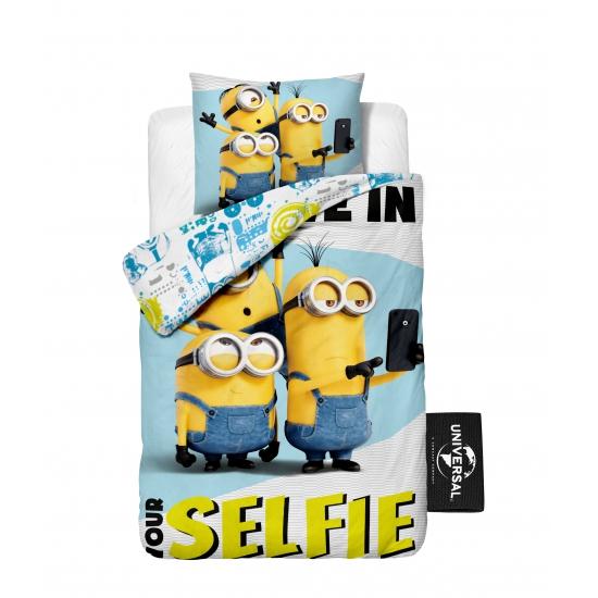 Afbeelding van 1 persoons dekbedovertrek van Minions selfie
