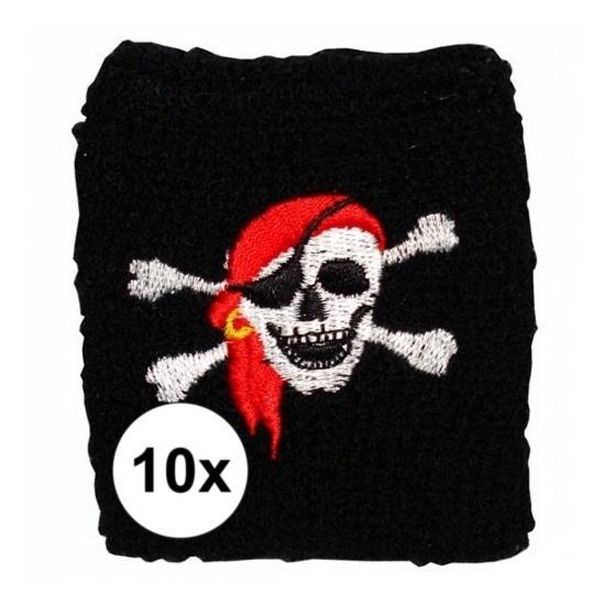 Afbeelding van 10 stuks Piraat zweetbandje met schedel