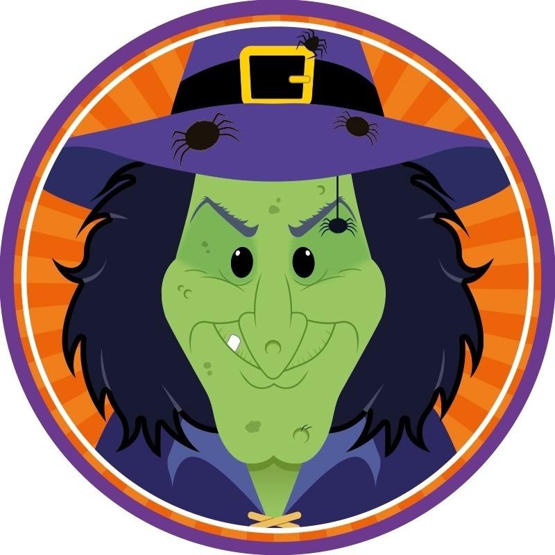 Afbeelding van 10x Bierviltjes horror/Halloween heksje van karton