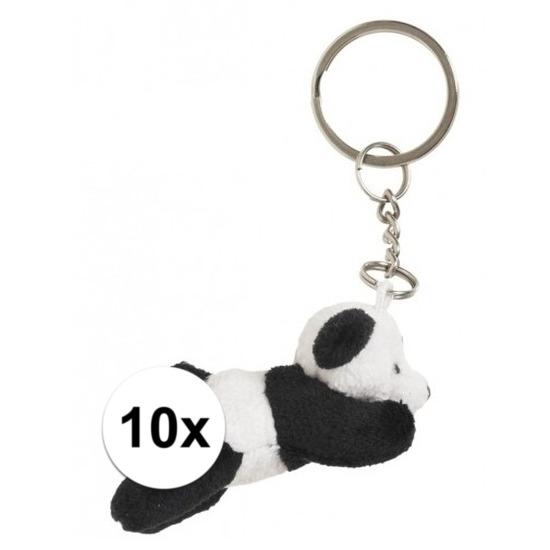 Afbeelding van 10x Sleutelhangers van panda beertje 6 cm