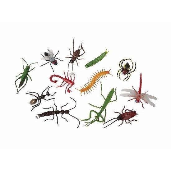 12x Speelgoed insecten plastic-rubber dieren
