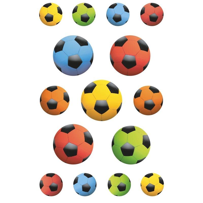 Afbeelding van 135x Gekleurde voetbal stickertjes voor kinderen