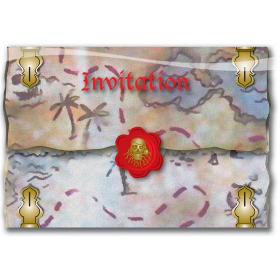 Afbeelding van 16x Piraten feestje uitnodigingen