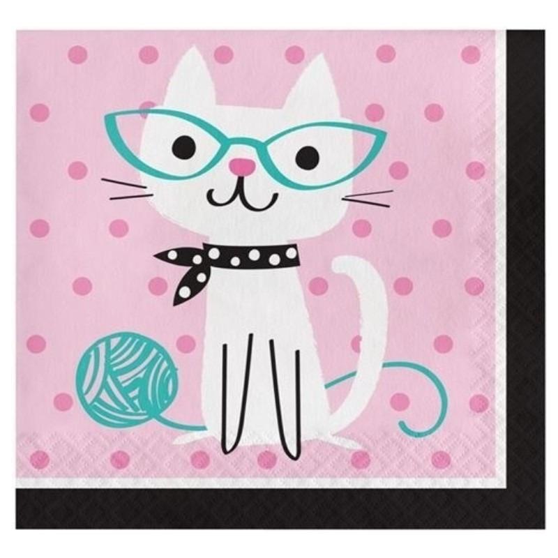 Afbeelding van 16x Thema servetjes katten