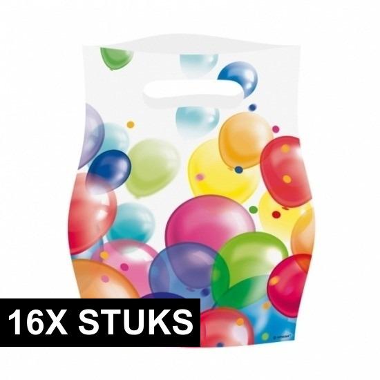 Afbeelding van 16x Uitdeelzakjes met ballonnen opdruk plastic 16x23cm
