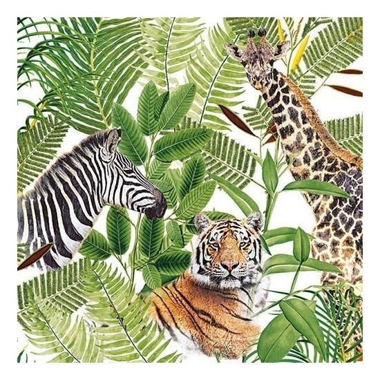 Afbeelding van 20x Papieren servetjes wilde dieren in jungle print 33 x 33 cm
