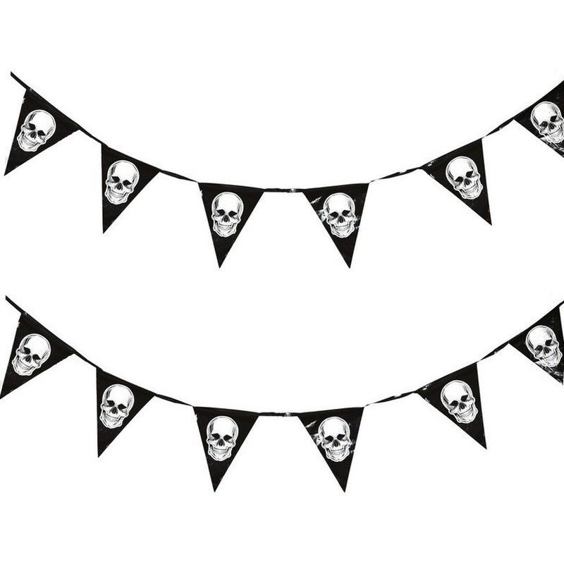 2x Piraten thema vlaggenlijnen-slingers 360 cm piraten decoratie