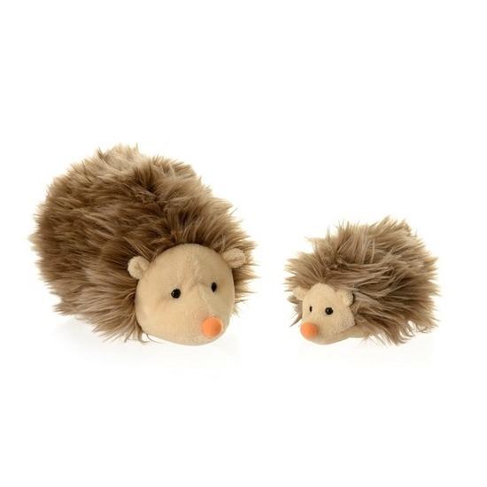 2x Pluche mama en kind egels knuffels 20 en 12 cm speelgoed