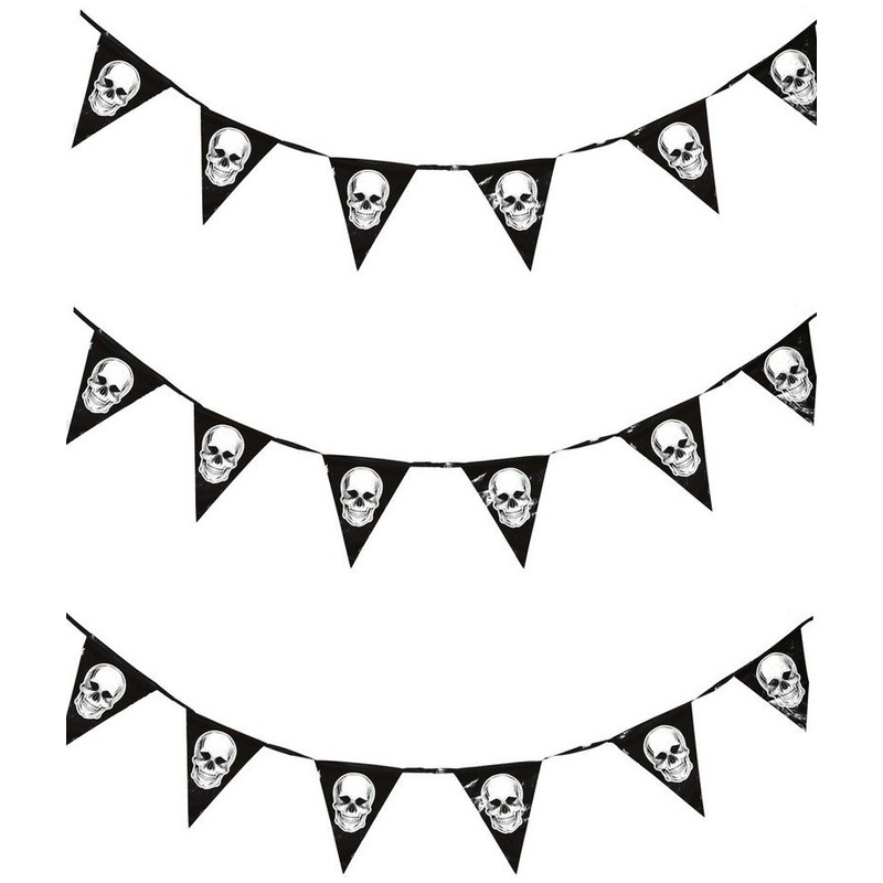 3x Piraten thema vlaggenlijnen-slingers 360 cm piraten decoratie
