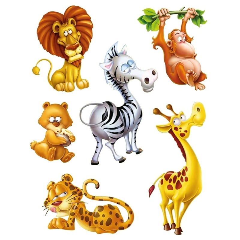 6x Raamstickers jungle dieren raamdecoratie