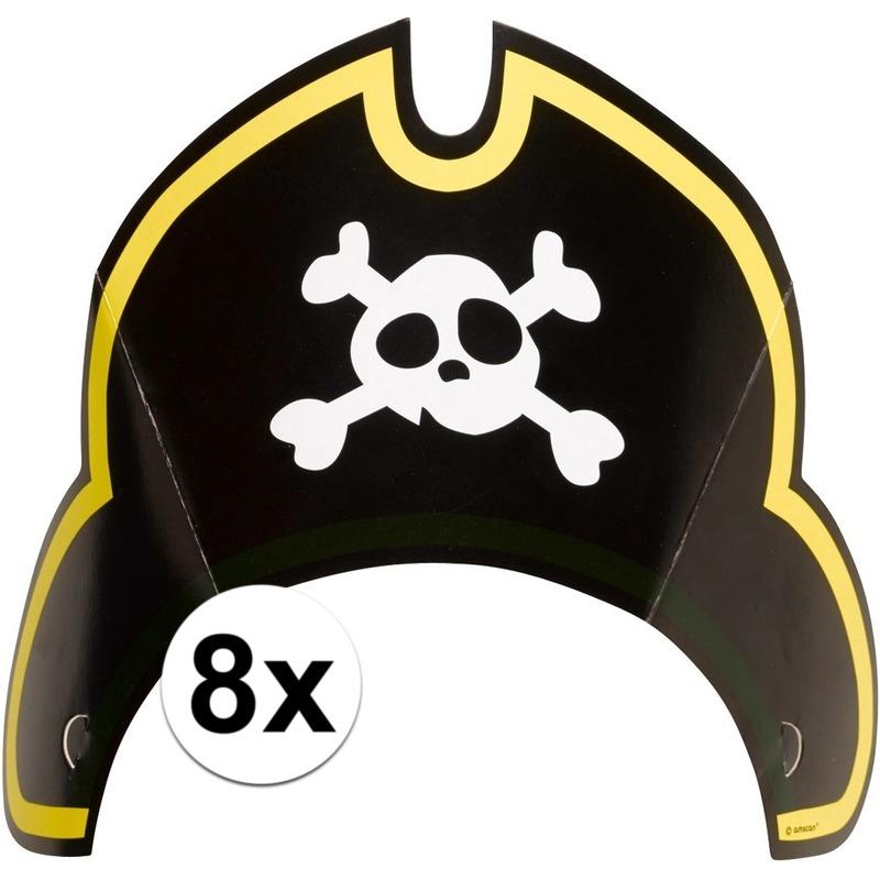 Afbeelding van 8x Feestartikelen piraat/piraten party hoedjes speelgoed