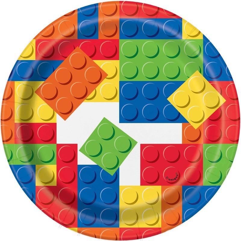 Afbeelding van 8x Feestartikelen speelgoed eetbordjes bouwstenen/blokken 18 cm