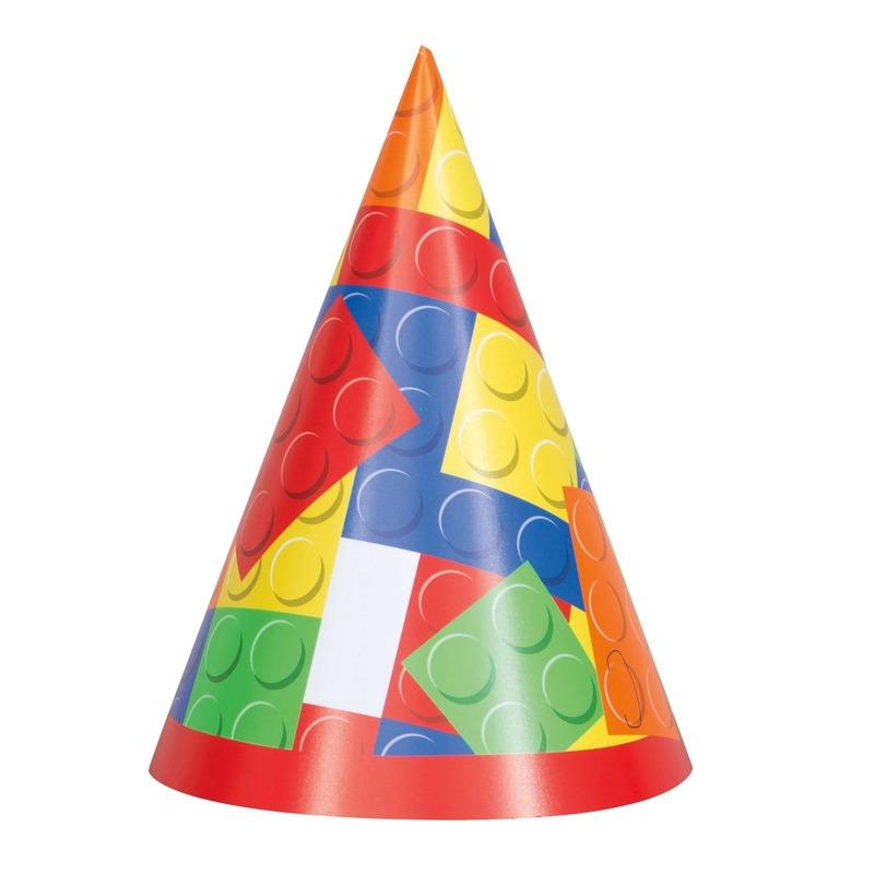 Afbeelding van 8x Party hoedjes bouwstenen/blokken speelgoed