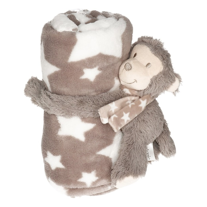 Baby kraamcadeau sterrenprint fleecedeken met aapjes knuffel