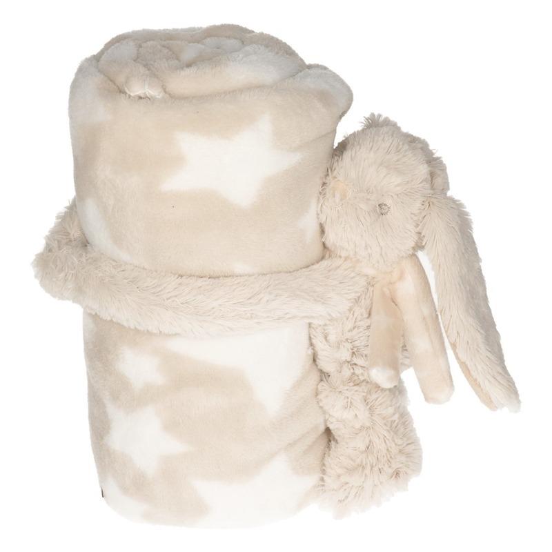 Baby kraamcadeau sterrenprint fleecedeken met konijntje-haasje knuffel