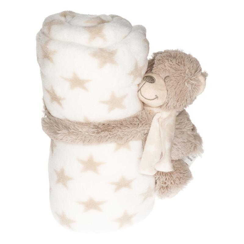 Baby kraamcadeau sterrenprint fleecedeken met teddybeer knuffel