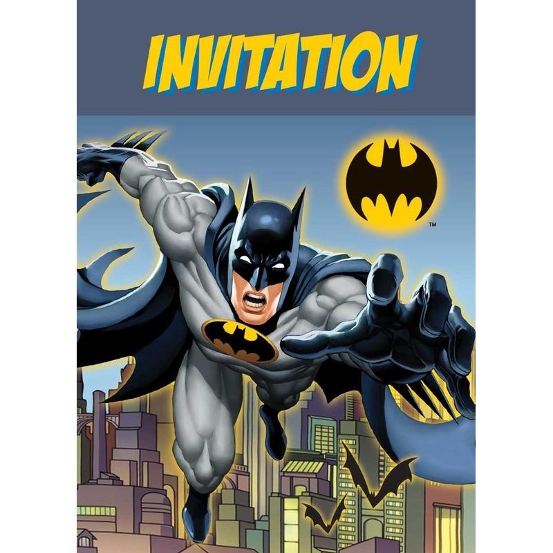 Afbeelding van Batman thema uitnodigingen 8 stuks