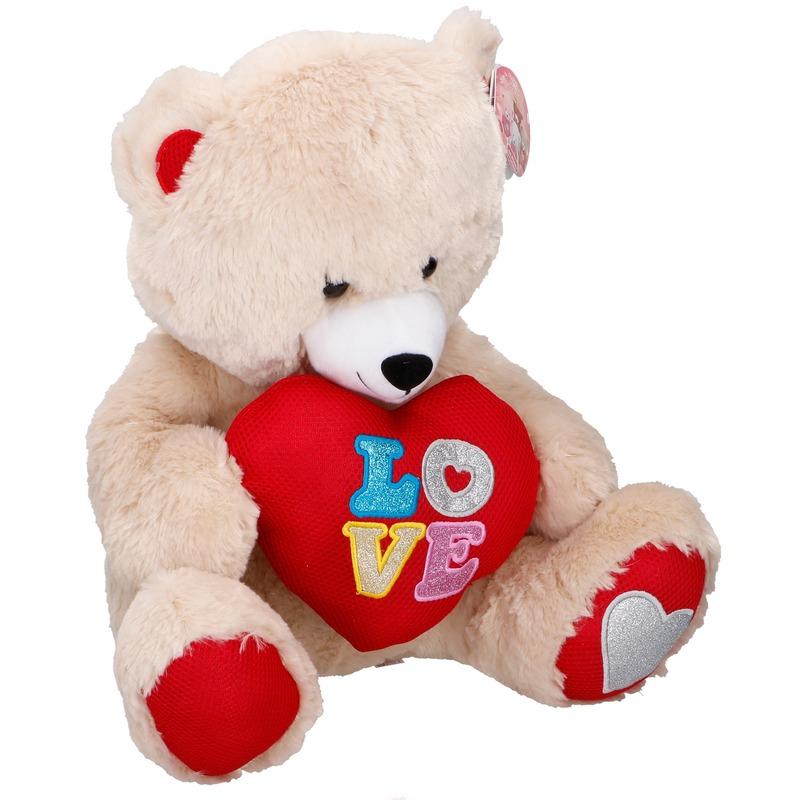 Beige pluche beren knuffel 43 cm met hart