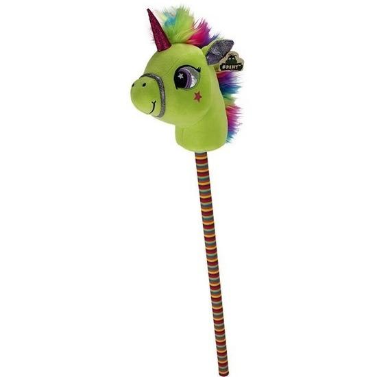 Eenhoorn stokpaardje groen 80 cm