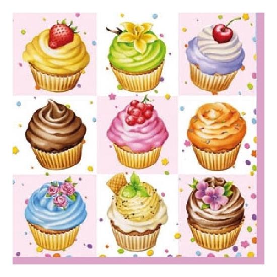 Afbeelding van Feest servetten cupcakes 3-laags 20 stuks