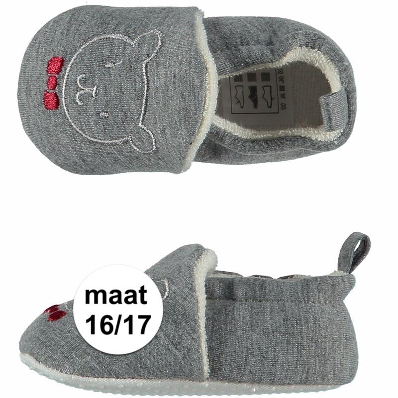Afbeelding van Geboorte kado jongetje baby slofjes met beer maat 16/17
