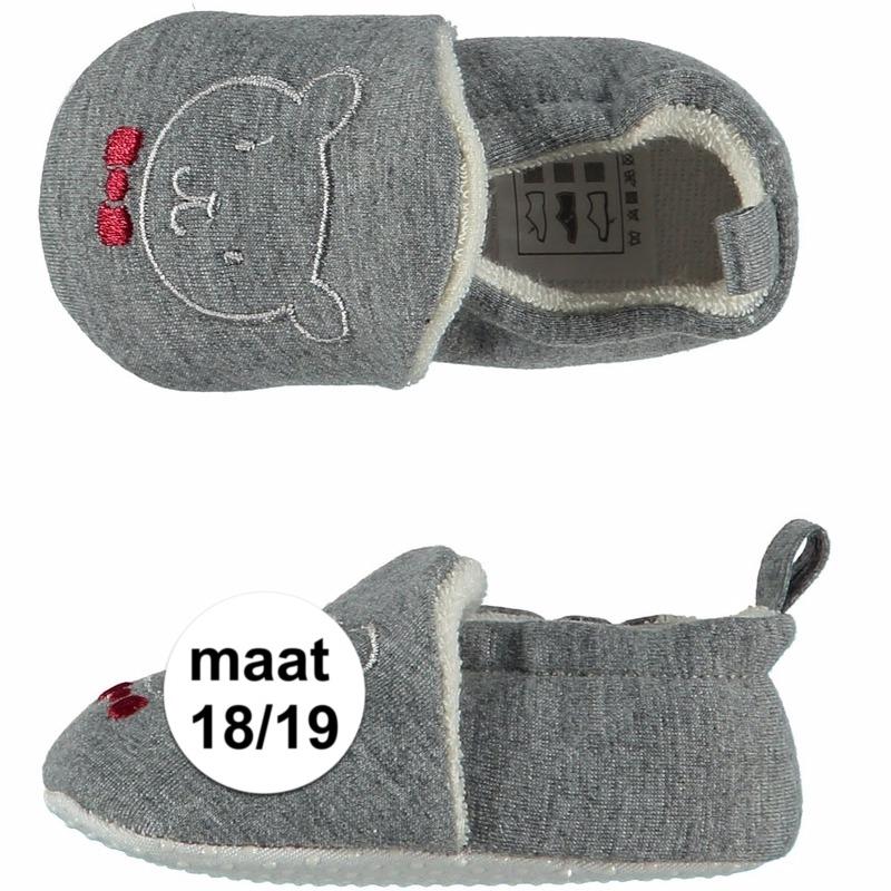 Afbeelding van Geboorte kado jongetje baby slofjes met beer maat 18/19