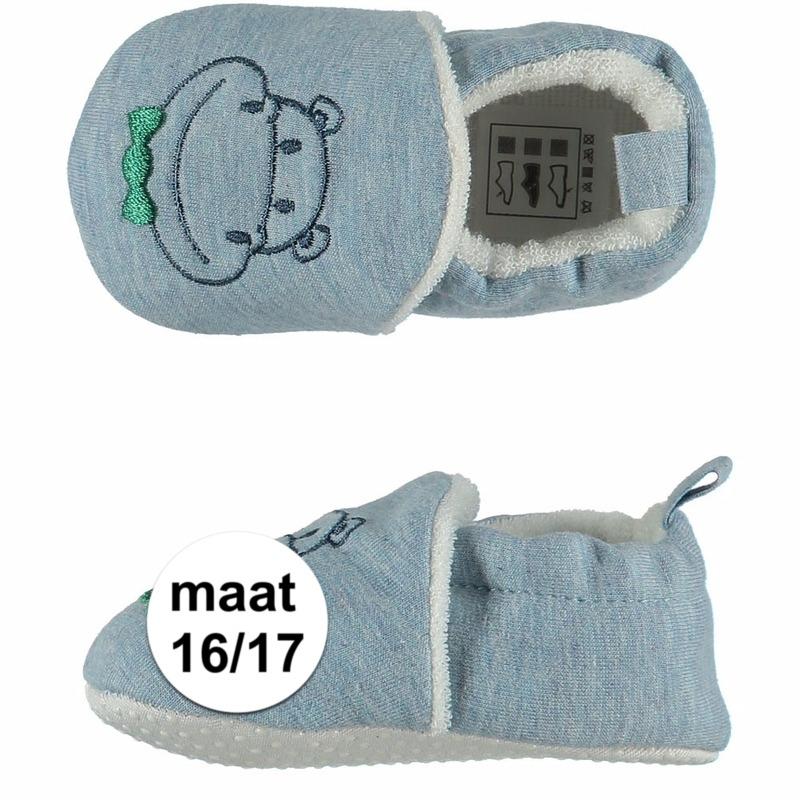 Afbeelding van Geboorte kado jongetje baby slofjes met nijlpaard maat 16/17