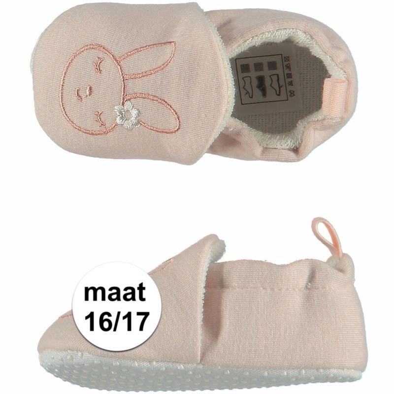 Afbeelding van Geboorte kado meisjes baby slofjes met konijntje maat 16/17
