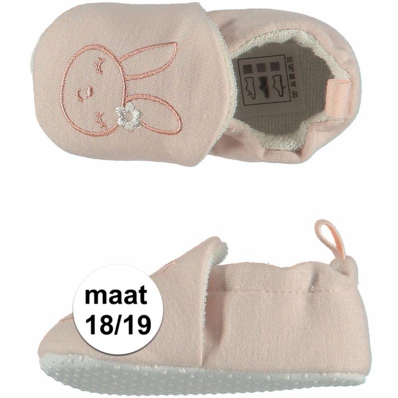 Afbeelding van Geboorte kado meisjes baby slofjes met konijntje maat 18/19