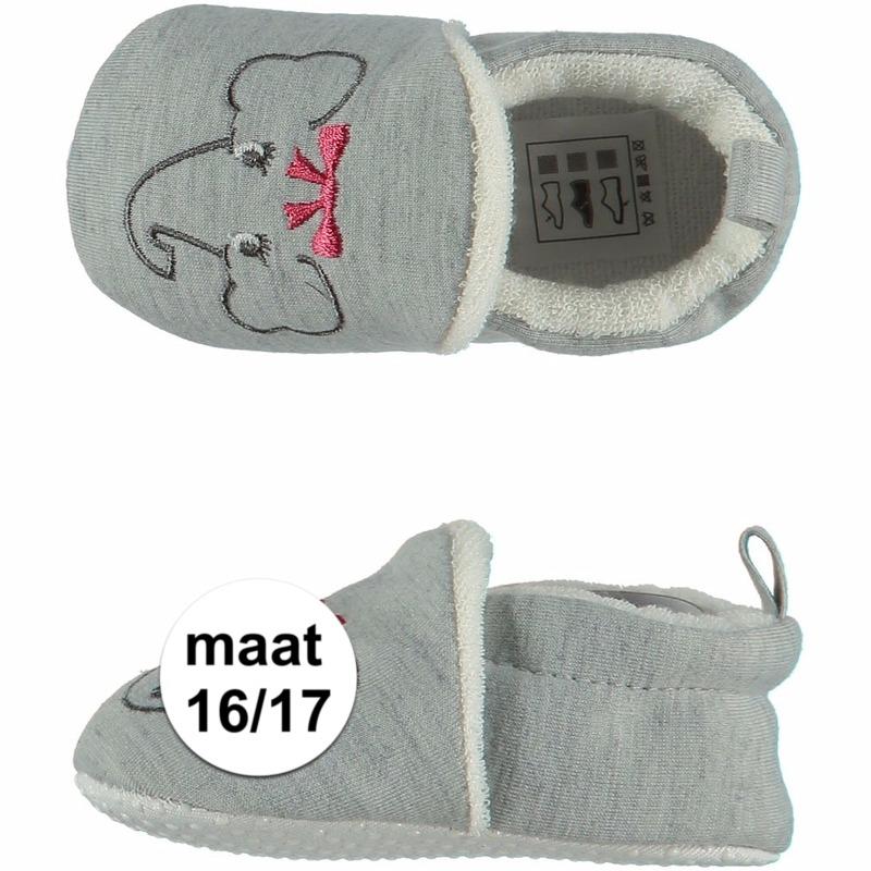 Afbeelding van Geboorte kado meisjes baby slofjes met olifantje maat 16/17