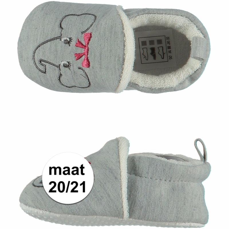 Afbeelding van Geboorte kado meisjes baby slofjes met olifantje maat 20/21