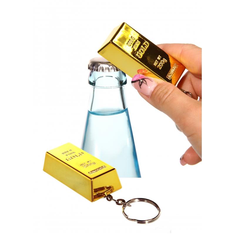 Goudstaaf sleutelhangers met flesopener