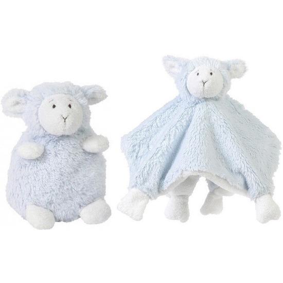 Happy Horse blauwe schaap-lam zittend baby knuffeltje en knuffeldoekje voor jongens