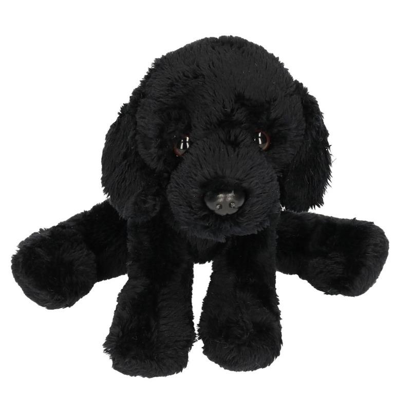 Hondel knuffels zwarte Labrador 12 cm