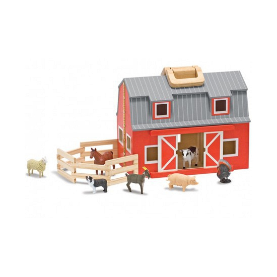 Houten speelgoed schuur met dieren