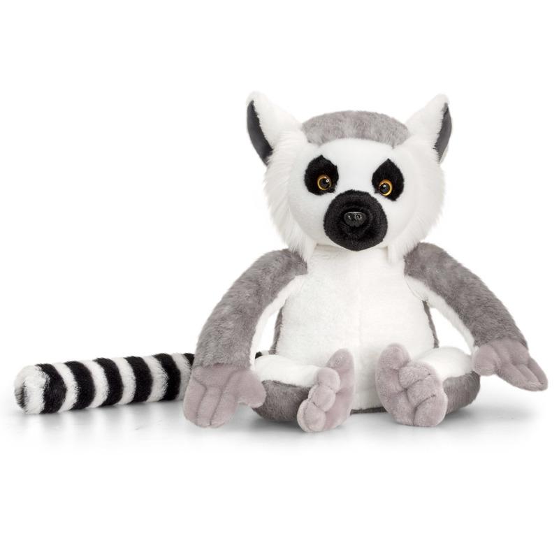 Keel Toys pluche Ringstaart Maki aapje knuffel 30 cm