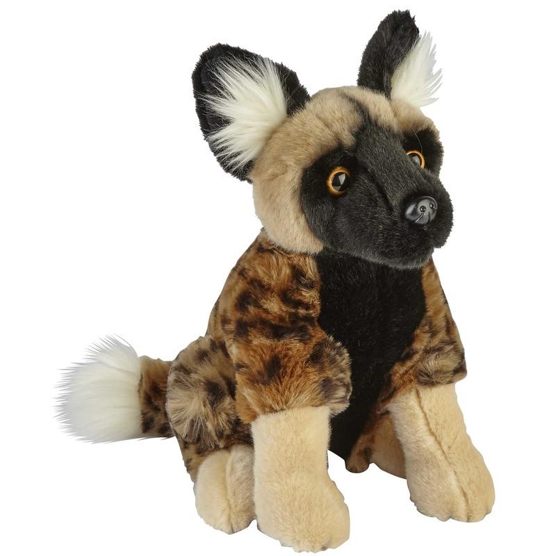 Knuffel Afrikaanse wilde hond bruin 28 cm knuffels kopen