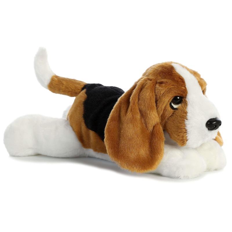 Knuffel Basset hound hond zwart-bruin-wit 30 cm knuffels kopen