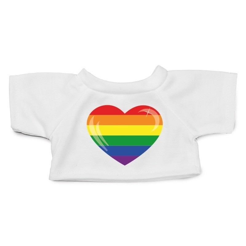 Knuffel kleding Gaypride hart shirt XL voor Clothies knuffel