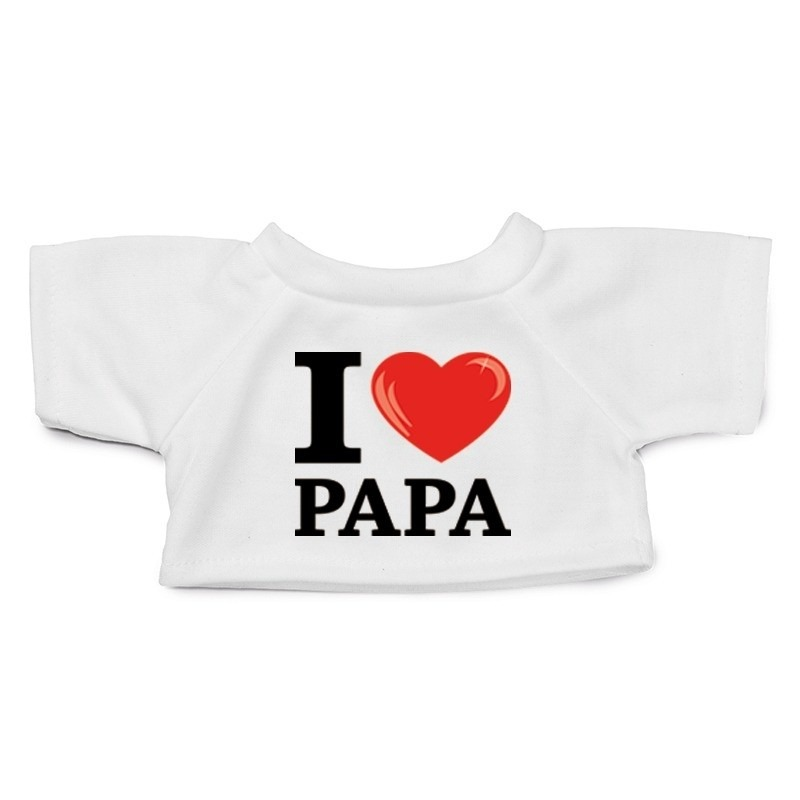 Knuffel kleding I love papa t-shirt wit M voor Clothies knuffel