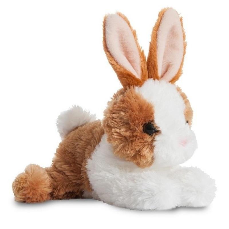 Knuffel konijn-haas bruin-wit 20 cm knuffels kopen