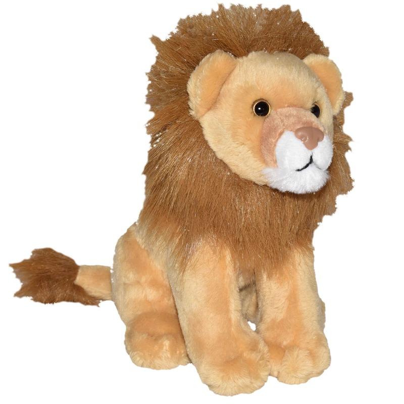 Knuffel leeuw bruin met geluid 20 cm knuffels kopen