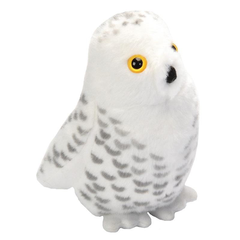 Knuffel sneeuwuil met geluid wit 13 cm knuffels kopen