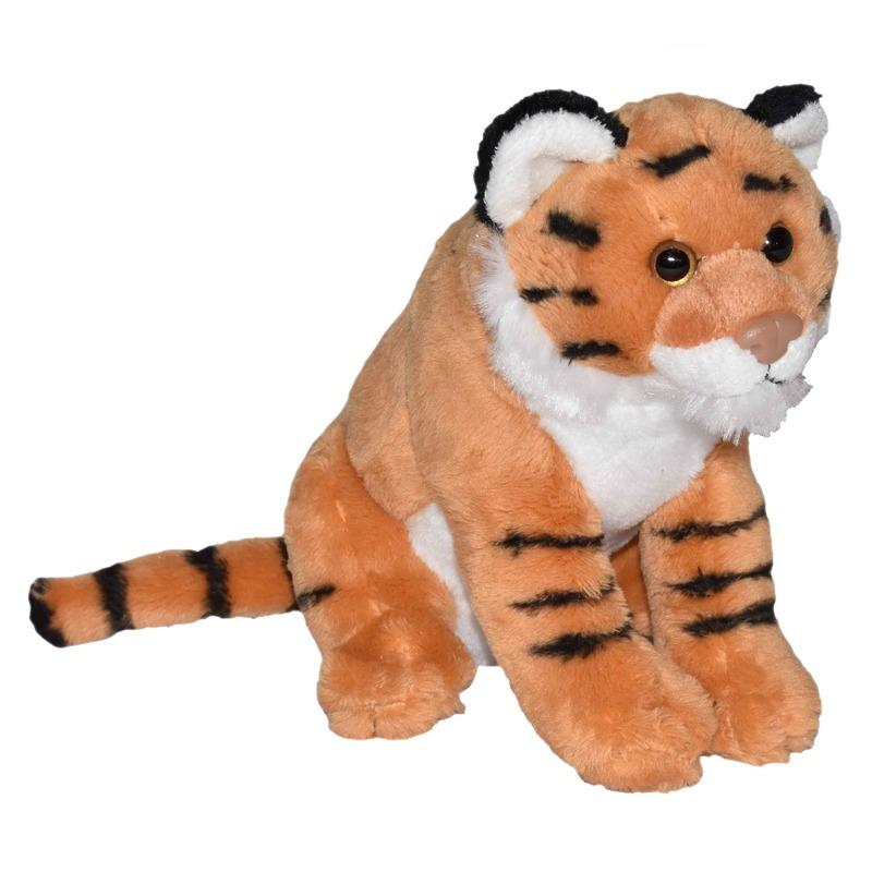 Knuffel tijger bruin met geluid 20 cm knuffels kopen
