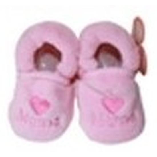 Afbeelding van Kraamcadeau lichtroze babyslofjes/pantoffels love mama