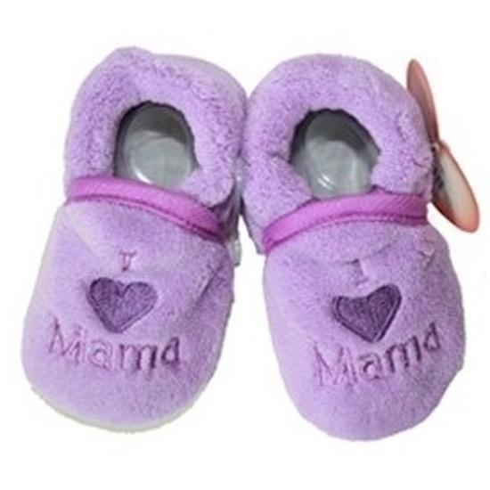 Afbeelding van Kraamcadeau paarse babyslofjes/pantoffels love mama