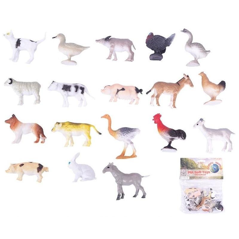 Afbeelding van Plastic speelgoed figuren boerderij dieren 12 stuks