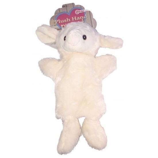 Pluche knuffel schapen-lammeren handpop 21 cm