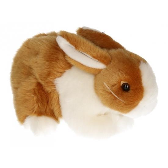 Pluche konijn knuffeldier bruin-wit 20 cm