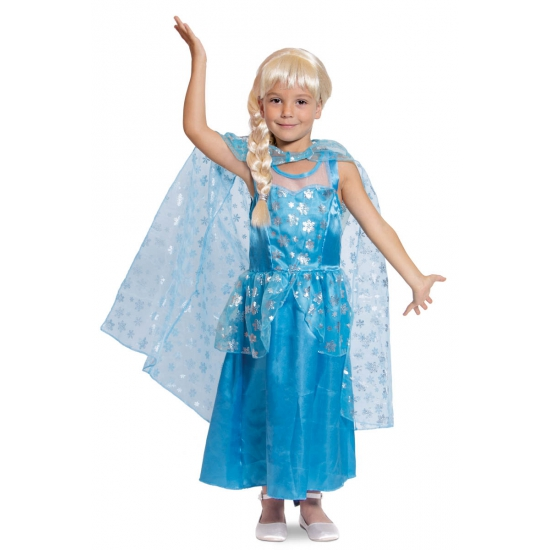 Afbeelding van Prinsessen jurk met cape blauw voor meisjes